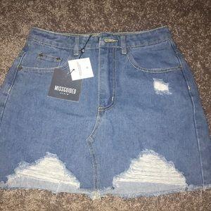 MIissguided Distressed Denim Skirt